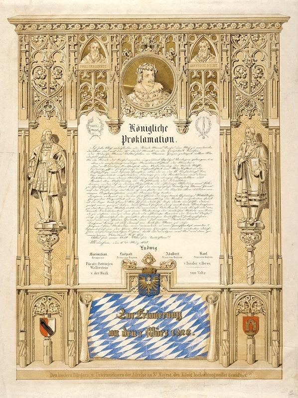 Eine reich verzierte Proklamation des Königs kündigt 1848 Reformen an.