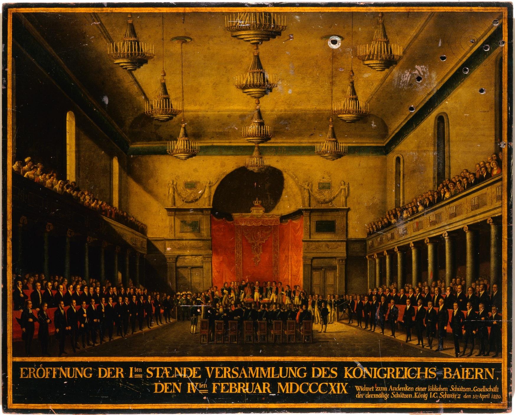 Auf einer Schützenscheibe ist die erste Ständeversammlung Bayerns im Jahre 1819 dargestellt.