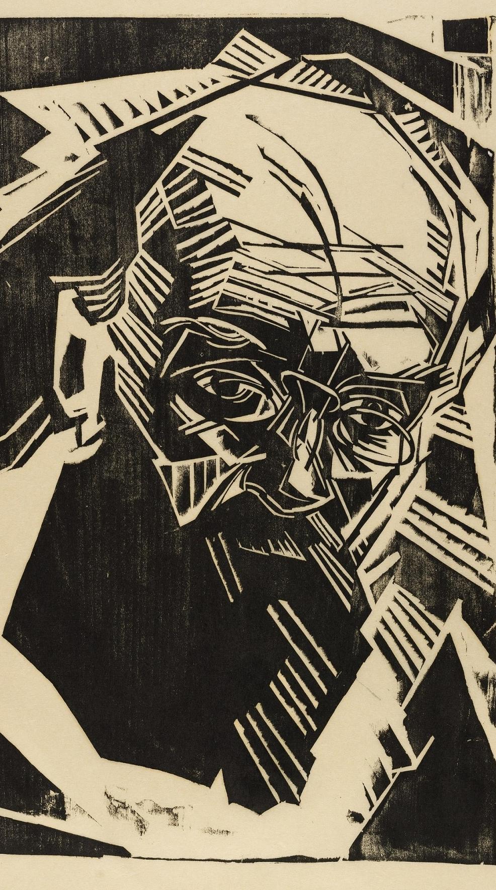 Holzschnitt eines Porträts Kurt Eisners