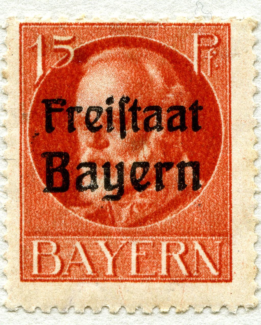 Überstempelte Briefmarke mit dem Bild Ludwigs III.
