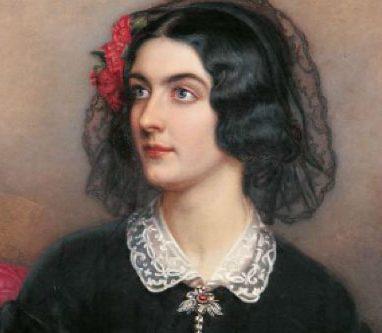 Gemälde-Porträt der dunkelhaarigen Schönheit Lola Montez im historischen Kostüm