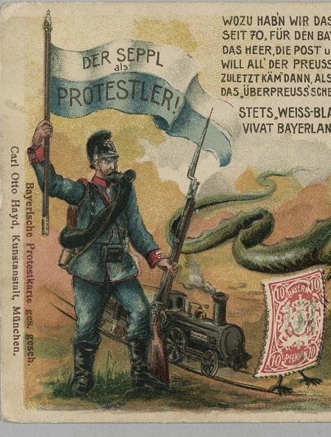Postkarten-Karikatur zeigt den bayerischen Seppl als Protestler gegen das preußisch geführte Kaiserreich, das dargestellt ist als Drachen mit preußischer Pickelhaube und weit aufgerissenem Maul.
