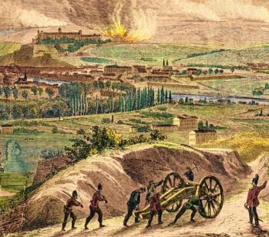 Holzschnitt von der Schlacht um Würzburg 1866.