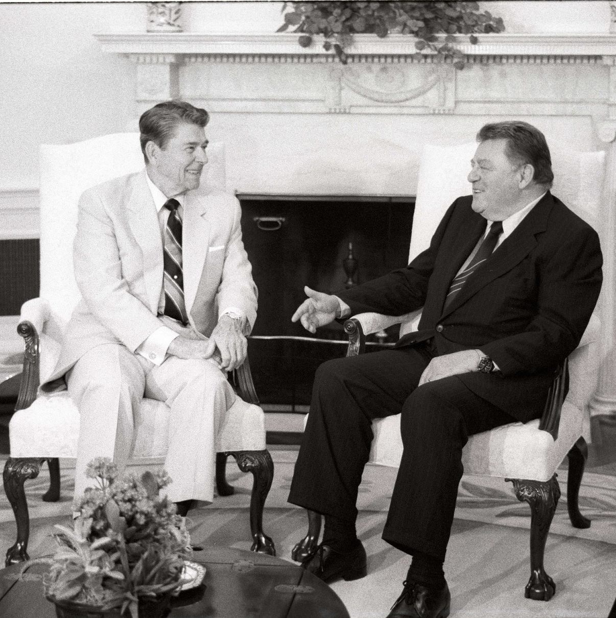 Franz Josef Strauß und Ronald Reagen im Weißen Haus.