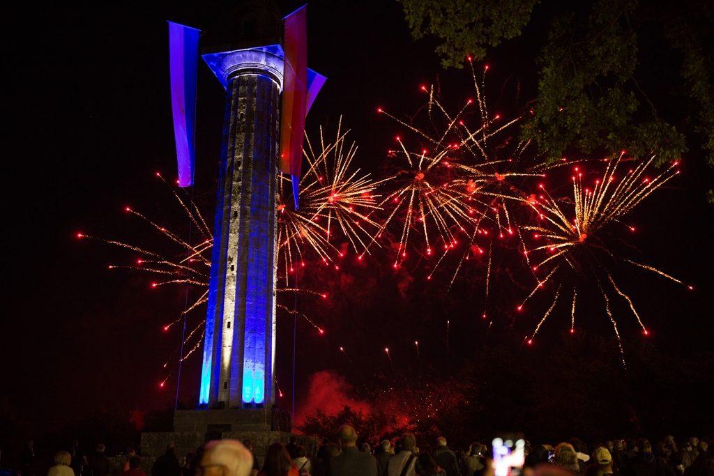 Feuerwerk an der Konstiutionssäule in Gaibach