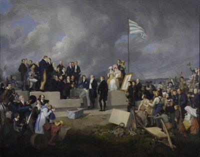 Die Grundsteinlegung der Gaibacher Konstitutionssäule